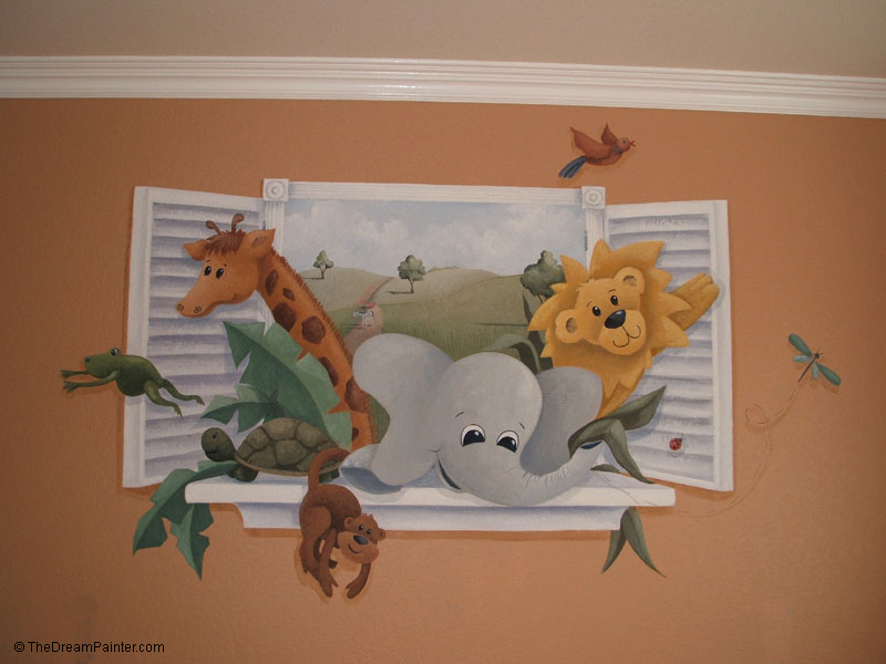 The dream paiter mobile mural page for Baby jungle mural